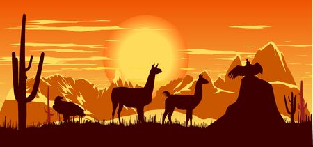Wild llama, eagle and vulture against the backdrop of a hot sunset Vector