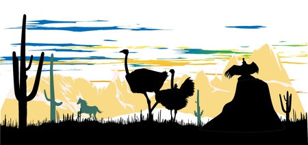 steppe: Wild ostriches, horse and vulture on the beautiful mauntains background