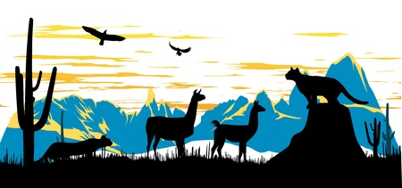 llama: Panther, llama and eagles in the morning on the mountains background Illustration