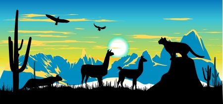 Panther, llama and eagles in the sky somewhere in Argentina Vector