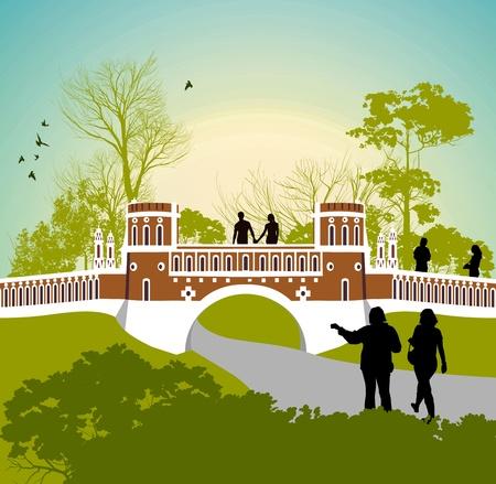 tsaritsino: Women walk in the park