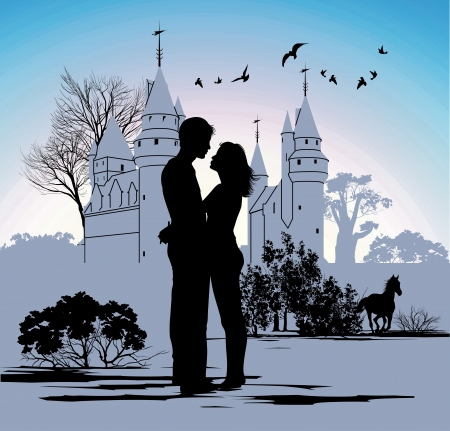 young couple looking at each other against the backdrop of the castle Vector