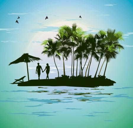 nude mann: junge Paar Entspannung auf einer tropischen Insel Illustration