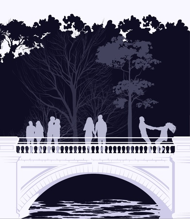 Young people walking across the bridge in the park Vector