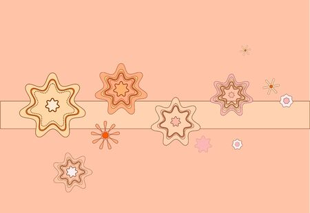 abstract pink flowers and stars on a pink background Vector