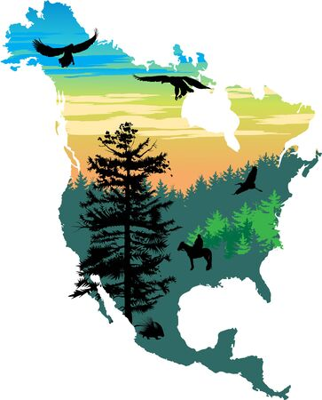 morse: American color map picture with trees and animals