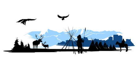 hunter man: American Indian on the city buildings and snow mountains background