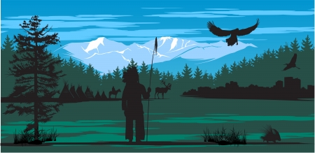 American Indian on the pine wood and snow mountains background