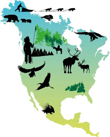 fur seal: American map picture with Indian reservation and winter animals