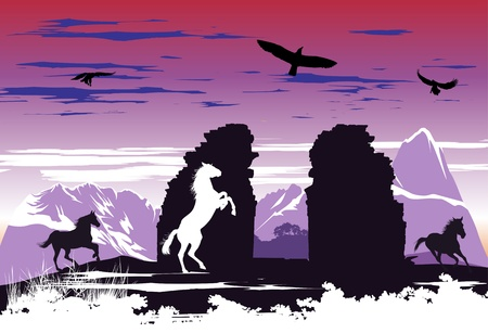 Black horses near the broken rocks on the dawn background Vector