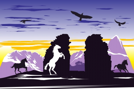 Black horses near the broken rocks on the sunset background Vector