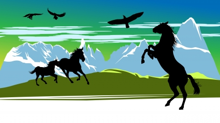 galloping: Running black horses and birds on the mountains background