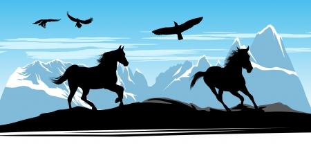 chevaux noir: Chevaux noirs et des aigles sur la neige fond les montagnes et la terre noire Illustration