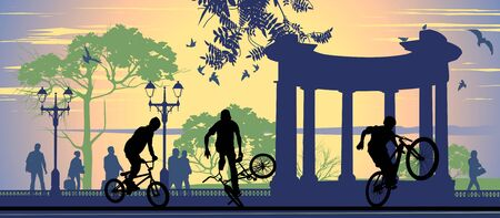 Boys on bicycles on the pavement background and walking people Vector