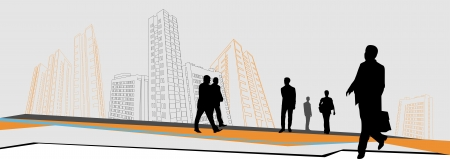 business people go to work in front of large buildings Illustration
