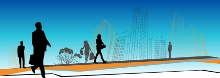 business people rushing in front of city skyline Vector