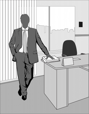 executive chair: Businessman standing in office at the table with papers