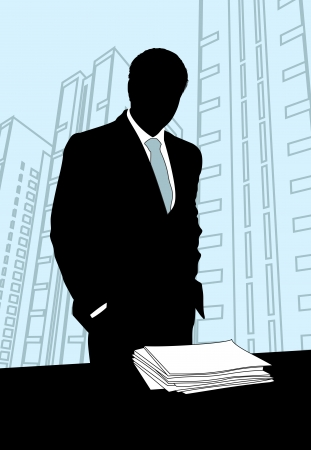 serious businessman: Businessman standing near a table with a stack of paper on it