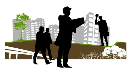 businessman stopped to check the contract Vector