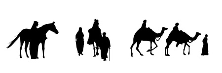 camels: black silhouettes of egyptian people whit camels and horse on the white background
