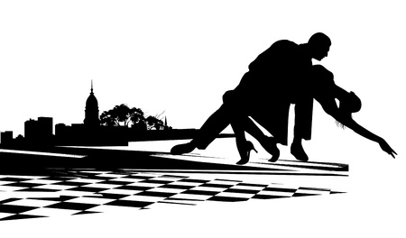 ardently: Couple dancing the tango agains  the backdrop of city buildings