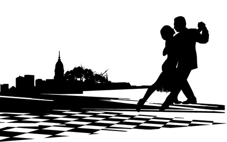 Couple dancing the tango agains  the backdrop of city buildings and trees