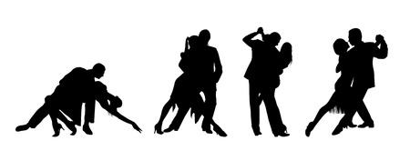 Pareja bailando el tango ardiente Ilustración de vector