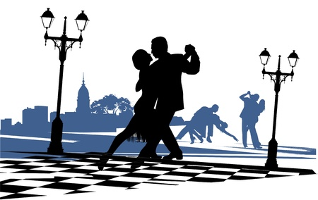 tango: couple in love dancing tango on the area near the light Illustration