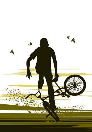 reversal: extreme biker makes reversal bicycle Illustration