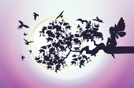 fairy silhouette: fantasy fairy sitting on a branch of the tree