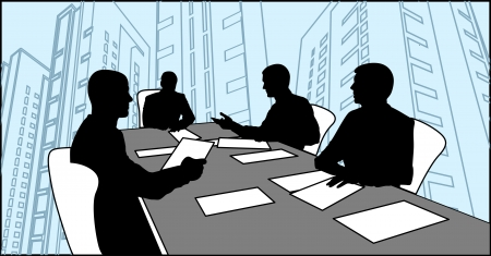 four men sitting at a table on the white chairs and negotiate with each other Vector