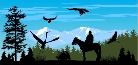 horseman: H�sar en el bosque de pinos y monta�as de nieve de fondo