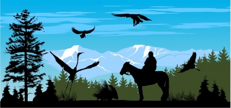 land animals: Horseman on the pine wood and snow mountains background