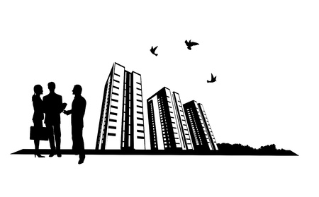 Illustration of people and building site Illustration