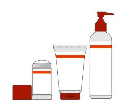 body care: Cosmetics dispensers and tube on a white background