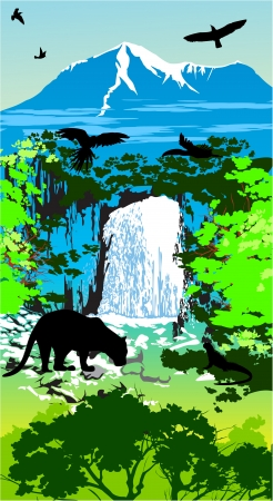 Jungle animals on the waterfall and mountains background