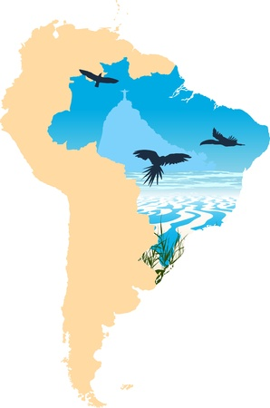 south america map: Map picture of South America and seaside whit statue of Jesus in Rio inside Illustration