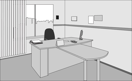 Executive Office Desk and Chair Vector