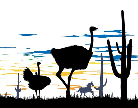 Ostriches and wild horse in the steppe whit cacti at the daylight Vector