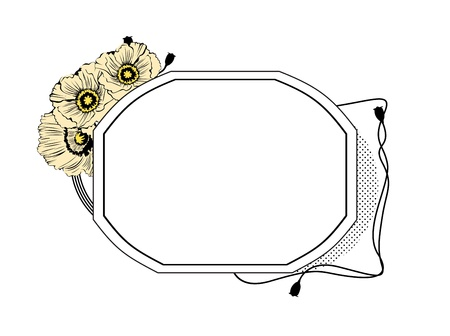 Oval frame with flowers on the side of white background Vector