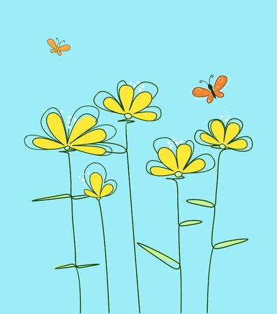 painted postcard with yellow flowers and butterflies Vector