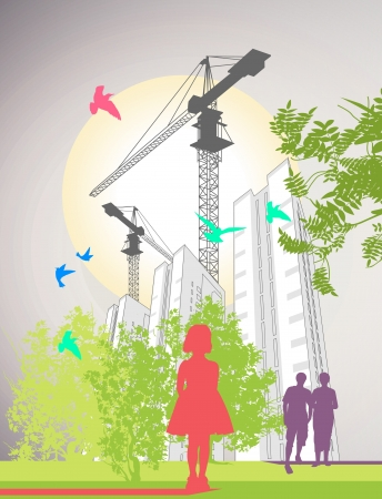 People are walking around skyscrapers and lifting cranes Illustration