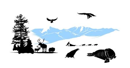 reservacion: Reserva con los animales de invierno en el fondo de monta�as de nieve Vectores