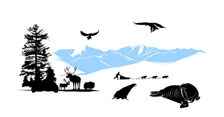 snow sled: Reservation with winter animals on the snow mountains background