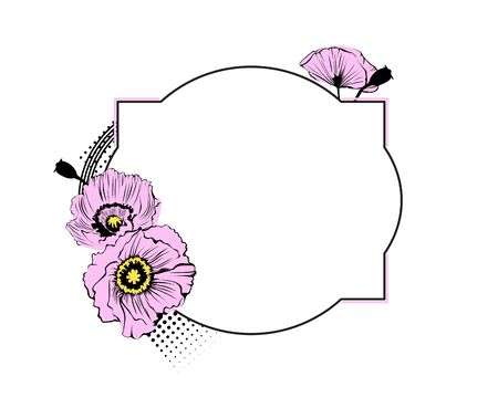 romantic poppies flower frame with artistic design Illustration