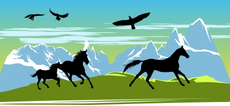 Running black horses and eagles on the mountains background Stock Vector - 13920628