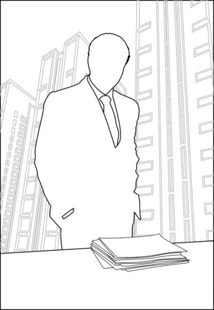 silhouette the businessman who is standing near a table with a stack of paper on it