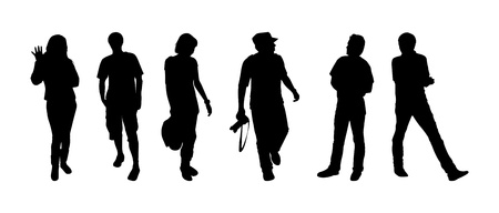 Silhouettes of tourists on excursion Vector