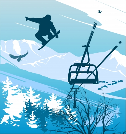 rockies: Snowboarder on a background of mountains and ski lift Illustration