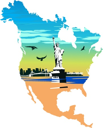 Statue of Liberty in the background of a map of America Vector